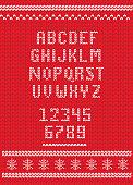Vector illustration of a Knitted Christmas alphabet font design set. Sample text design. Easy to edit. EPS 10.