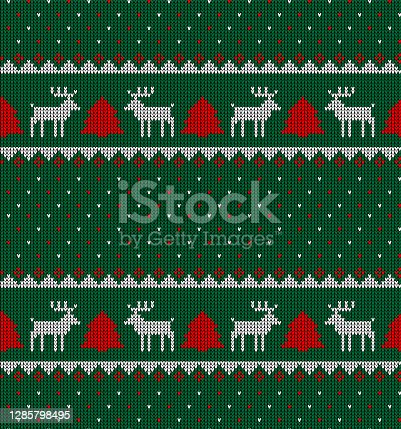 istock Knitted Christmas and New Year pattern in cow. Wool Knitting Sweater Design. Wallpaper wrapping paper textile print. 1285798495
