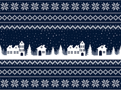 Knitted Christmas and New Year pattern. Wool Knitting Sweater Design. Wallpaper wrapping paper textile print.