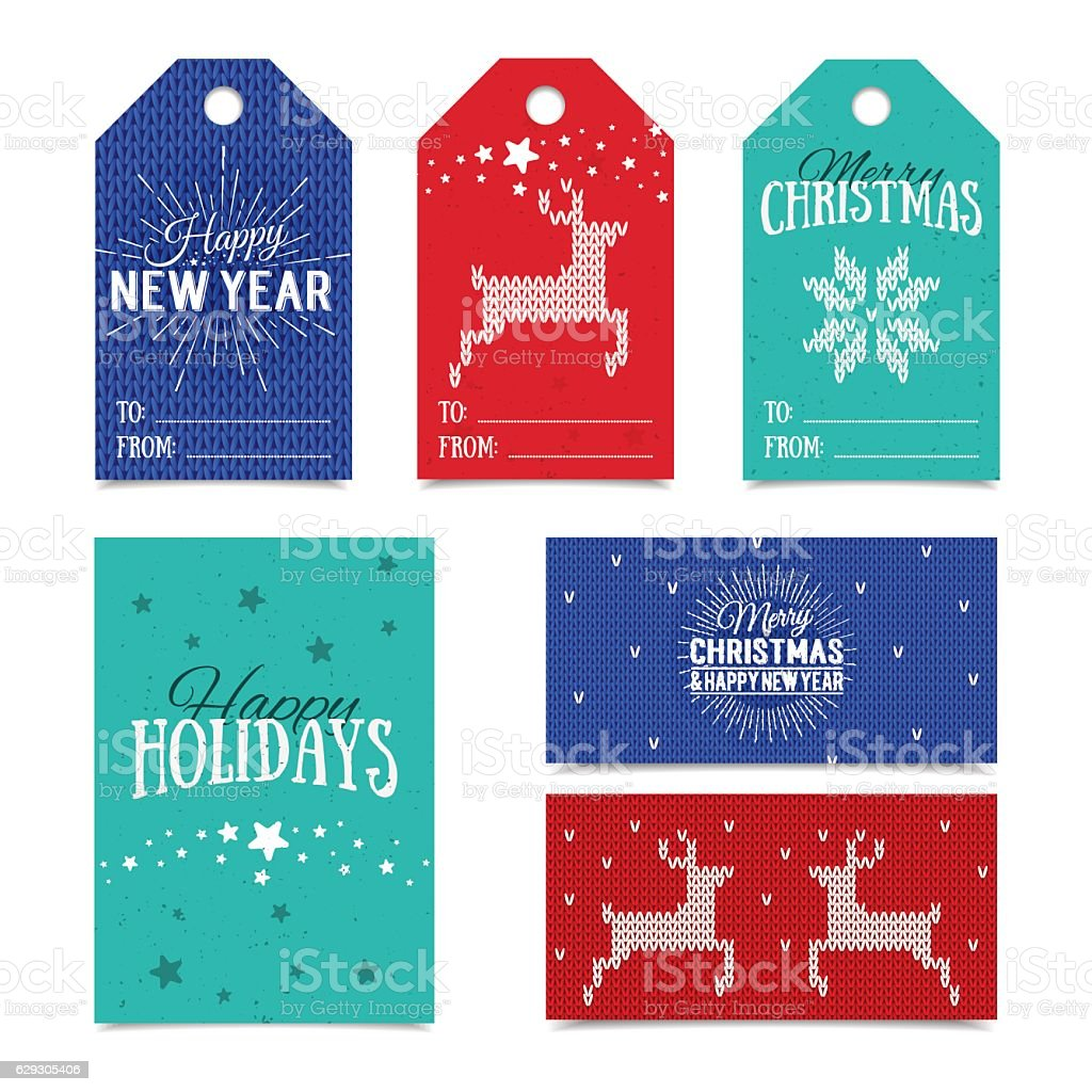 Knitted Christmas Card Templates. Colorful New Year Present Name Tags  Royalty Free Knitted Christmas