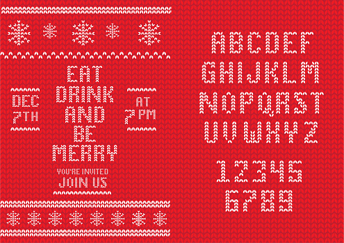 Knitted Christmas Invitation design template with set of alphabet font design