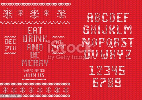 Vector illustration of a Knitted Christmas Invitation design template with set of alphabet font design. Easy to edit. EPS 10.
