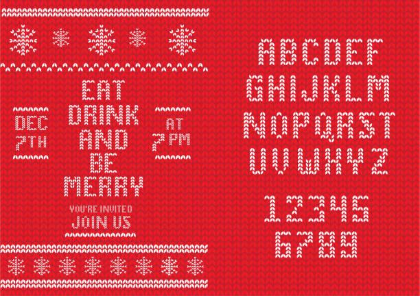 ilustrações, clipart, desenhos animados e ícones de molde feito malha do projeto do convite do natal com jogo do projeto da pia batismal - font