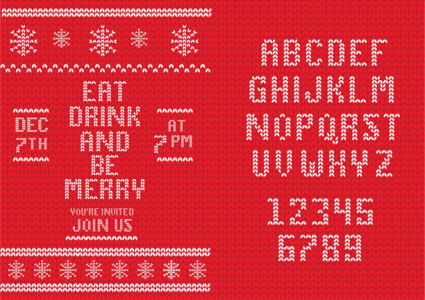 Knitted Christmas Invitation design template with set of alphabet font design vector art illustration