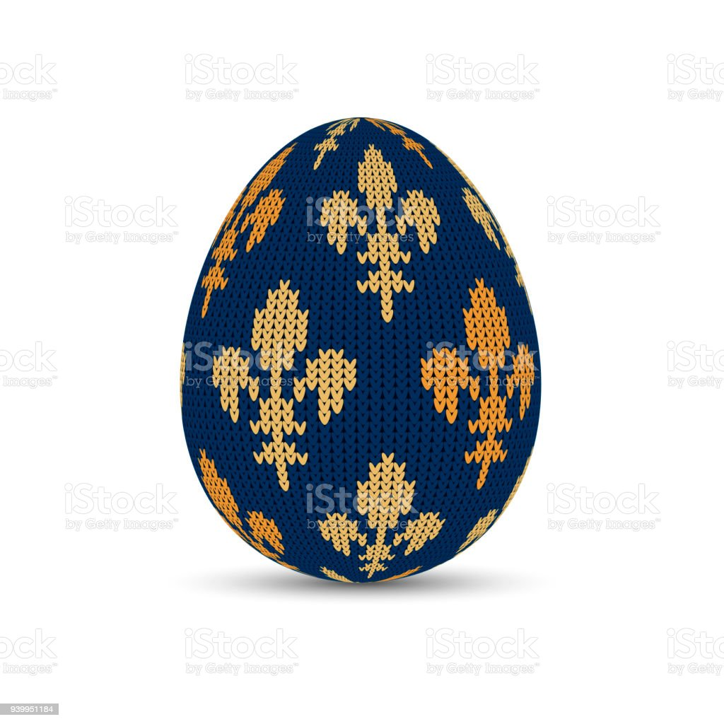 Knitted Easter Egg With Royal Lilies Easter Egg With A Knitted ...