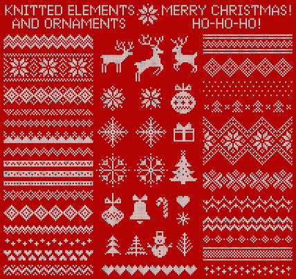 Knitted elements and borders. Vector set.