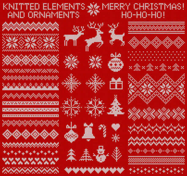 Knitted elements and borders. Vector set. Knitted elements and borders for Christmas, New Year or winter design. Sweater ornaments for scandinavian pattern. Vector illustration. scandinavian culture stock illustrations