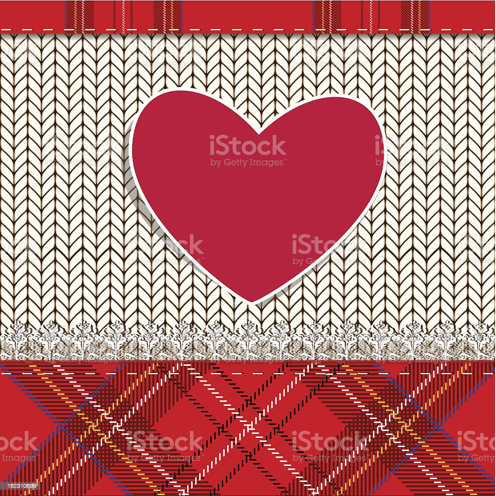 knitted fabric for Valentine royalty-free stock vector art