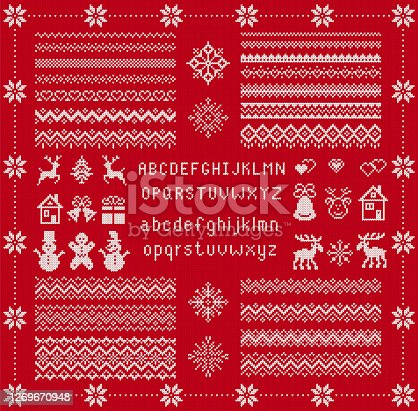 istock Knitted font and elements. Christmas seamless texture. Vector illustration. Knit sweater print. 1269670948