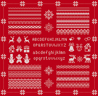 Knit elements and font. Vector. Christmas seamless borders. Knitted pattern. Fairisle ornaments with type, snowflake, deer, bell, tree, snowman, gift box. Sweater print. Xmas illustration. Red texture