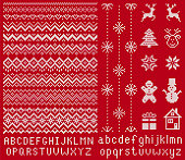 istock Knitted font and elements. Vector illustration. Christmas seamless texture. Knitted sweater print. 1256938129