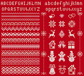 Knit elements and font. Vector. Christmas seamless borders. Sweater pattern. Fairisle ornaments with type, snowflake, deer, bell, tree, snowman, gift box. Knitted print. Xmas illustration. Red texture