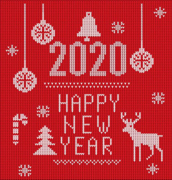 2020 gestrickte schrift, elemente und grenzen für weihnachten, 2020 neujahr oder winter-design. hässliche pullover stil. pullover ornamente für skandinavischemuster. vektor-illustration. isoliert auf rotem hintergrund. - gehäkelte lebensmittel stock-grafiken, -clipart, -cartoons und -symbole