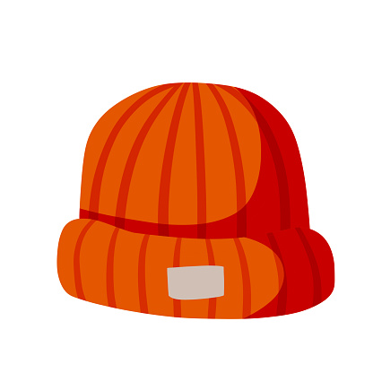 Knitted Hat. Red Winter clothing for the head. Flat cartoon illustration isolated on white background