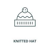 Knitted hat vector line icon, linear concept, outline sign, symbol