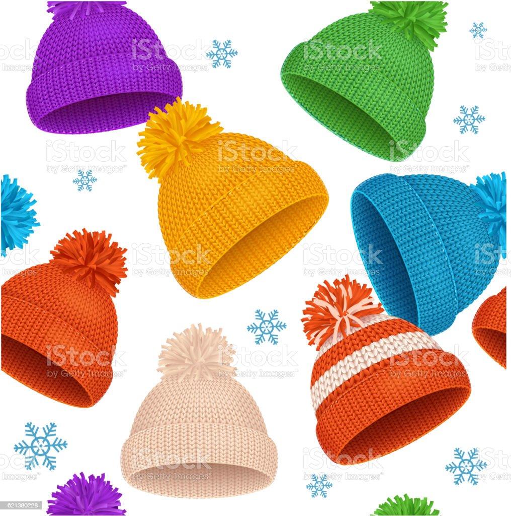 Knitted Hat Winter Background Pattern. Vector vector art illustration