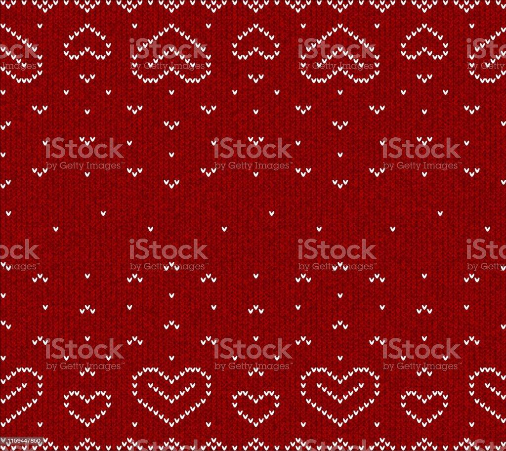 ニットハートシームレスなベクトルパターン壁紙背景心は愛の象徴であり
