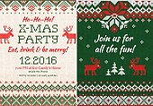 Vector illustration Knitted Invitation to the Christmas X-mas party. Front and back sides. Handmade knitting abstract background pattern with text and scandinavian ornaments. White, red, green colors. Flat style