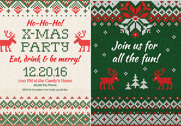 knitted invitation to the christmas x-mas party. front and back - firmenweihnachtsfeier stock-grafiken, -clipart, -cartoons und -symbole