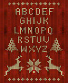knitted letter set, reindeer, snowflakes and Christmas trees on knitted red background for use in holiday designs. Easy to edit.