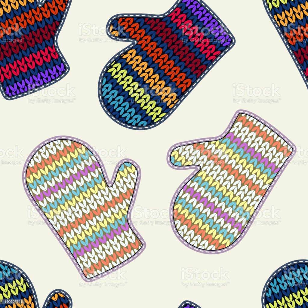 Knitted mittens. Seamless texture vector art illustration