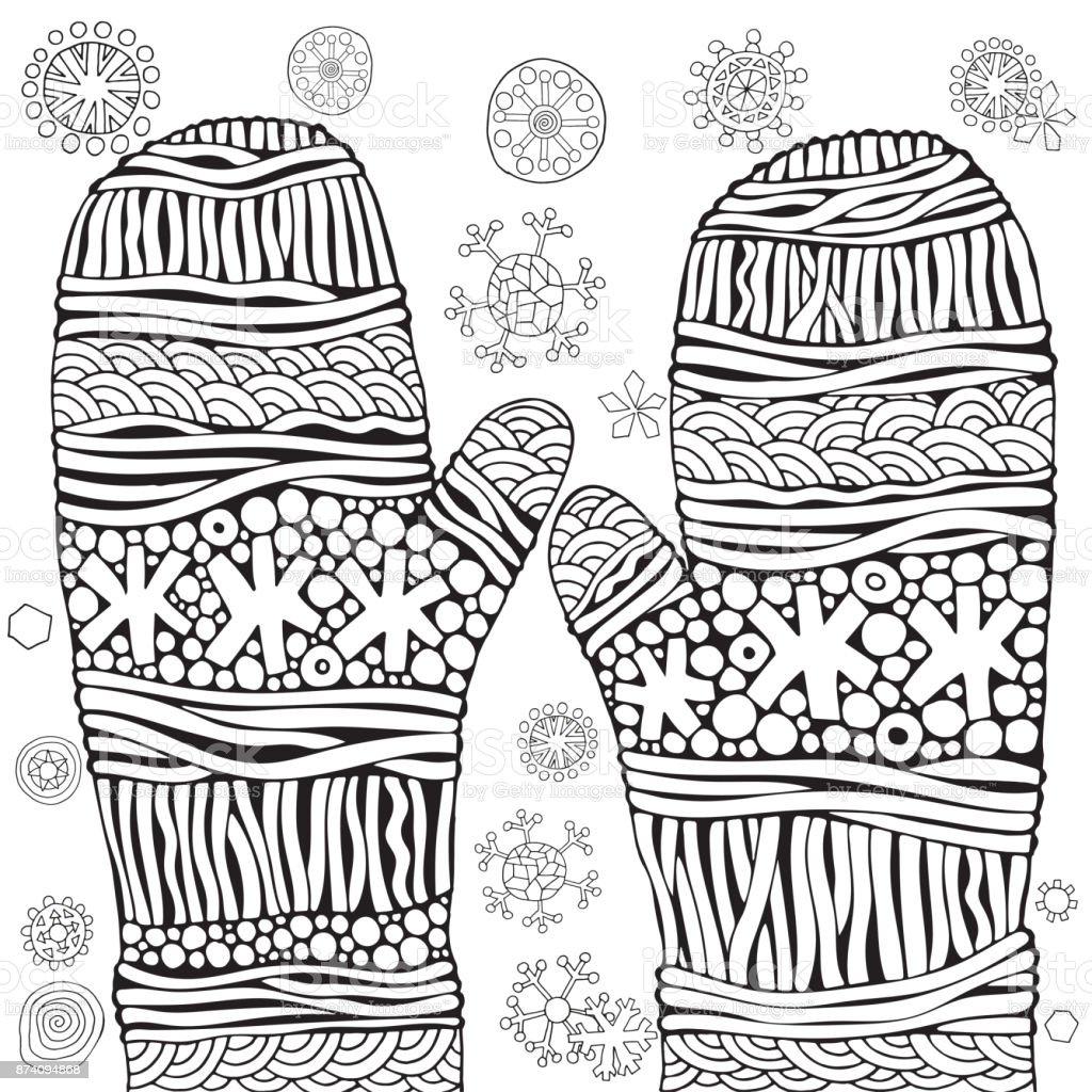 Moufles Avec Des Flocons De Neige Vecteur De Noël Gabarit Pour Le