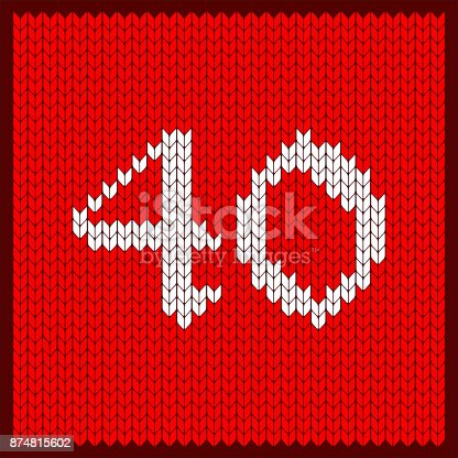 istock knitted number 40 874815602