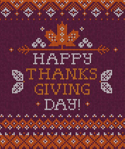 gestrickte muster hintergrund happy thanksgiving day familienfeier grußkarte - gehäkelte lebensmittel stock-grafiken, -clipart, -cartoons und -symbole