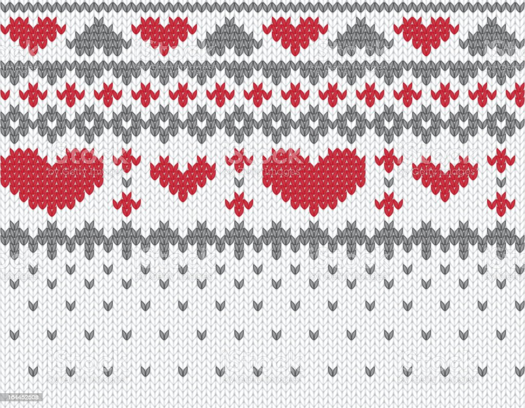 Knitted pattern vector with hearts royalty-free stock vector art