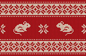 Knitted pattern with rats in red and white colors. Ornament. Border. Seamless sample. It can be used as a background to the New Year 2020. Rat year. Vector illustration.