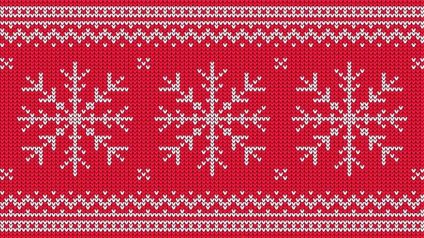 Bекторная иллюстрация Knitted pattern with white snowflake and ornamental border on red background.