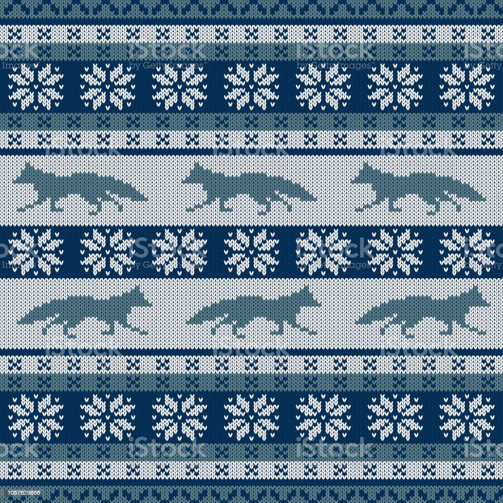 Punto adorno inconsútil escandinavo con un zorro corriendo y copos de nieve - ilustración de arte vectorial