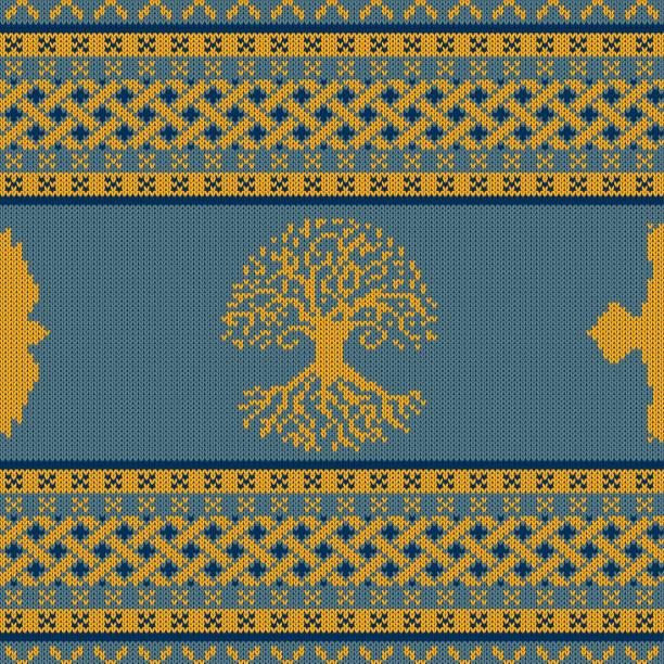 Punto ornamento nacional céltico con el árbol del mundo y raven - ilustración de arte vectorial