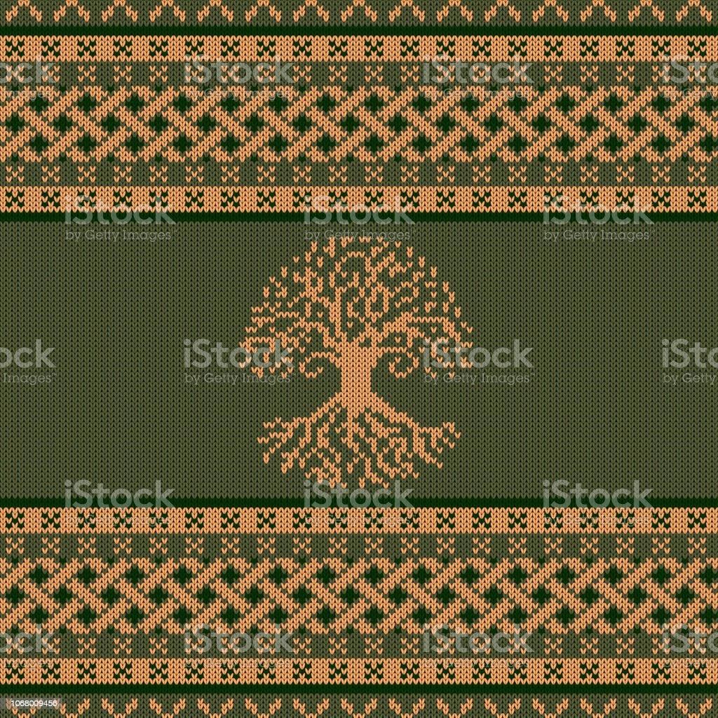 Punto ornamento nacional céltico con el árbol del mundo - ilustración de arte vectorial