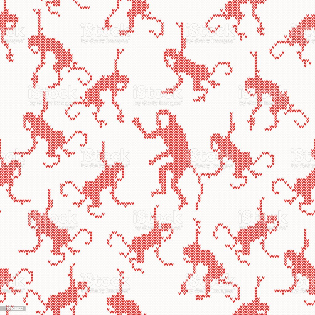 Knitted seamless pattern with monkey vector art illustration