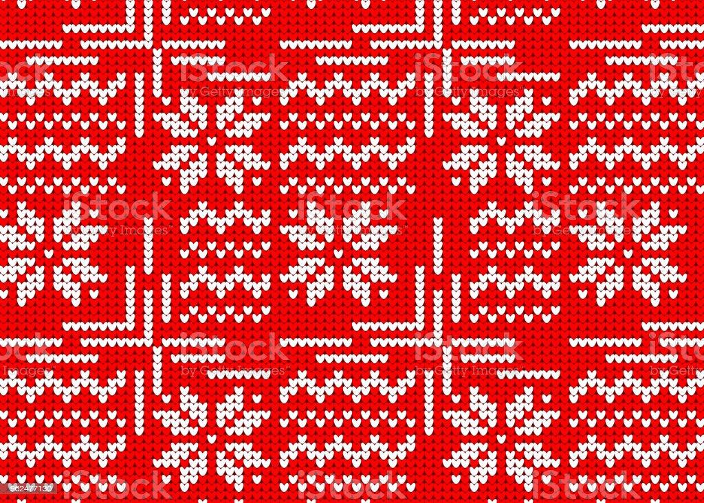 Ilustración de Suéter Hecho Punto Patrón Rojo Noruego Estilo ...