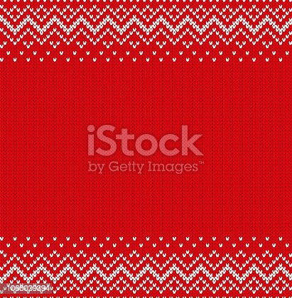 Knitted textured design for print sweater in fair Isle style. Knitted geometric ornament background with empty place for text. Seamless pattern. Vector illustration.