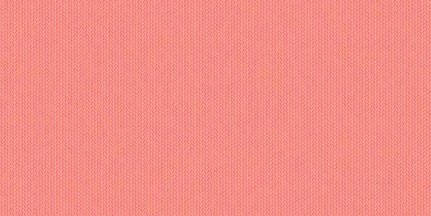 stockillustraties, clipart, cartoons en iconen met gebreide textuur, wol mélange-garens, bleke rode tinten in vector naadloze achtergrond, moderne, trendy kleur van wonen koraal. - wollig
