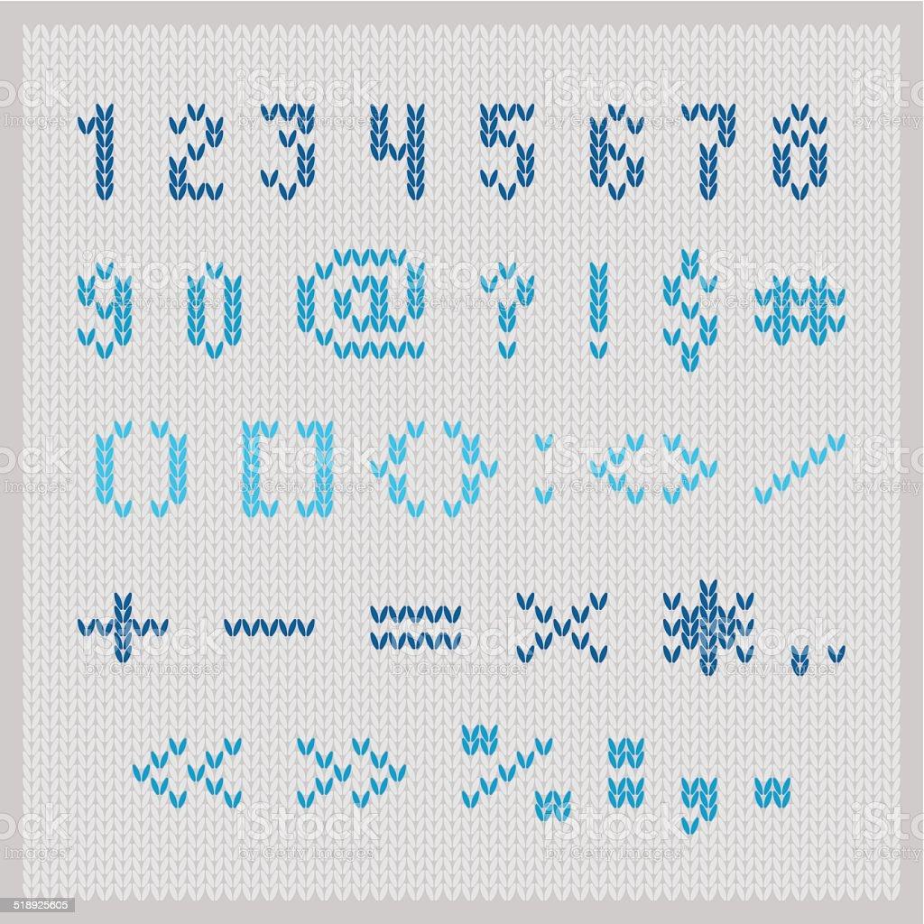 Ilustración de Tejido Vector Alfabeto Azul Pequeña Sans Serif ...