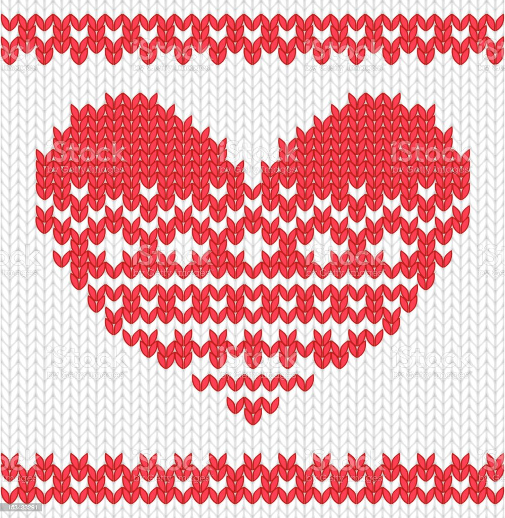 Knitted vector heart royalty-free stock vector art