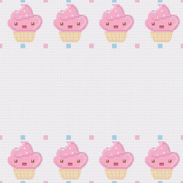 Knitted white background for your text with pink kawaii cupcakes . Vector illustration. vector art illustration