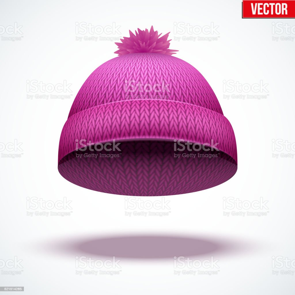 fcf916d6d269 Knitted woolen cap. Winter seasonal pink hat. vector illustration  royalty-free knitted woolen
