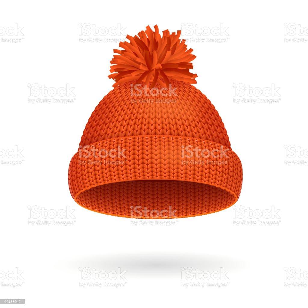 Knitted Woolen Red Hat for Winter Season. Vector vector art illustration
