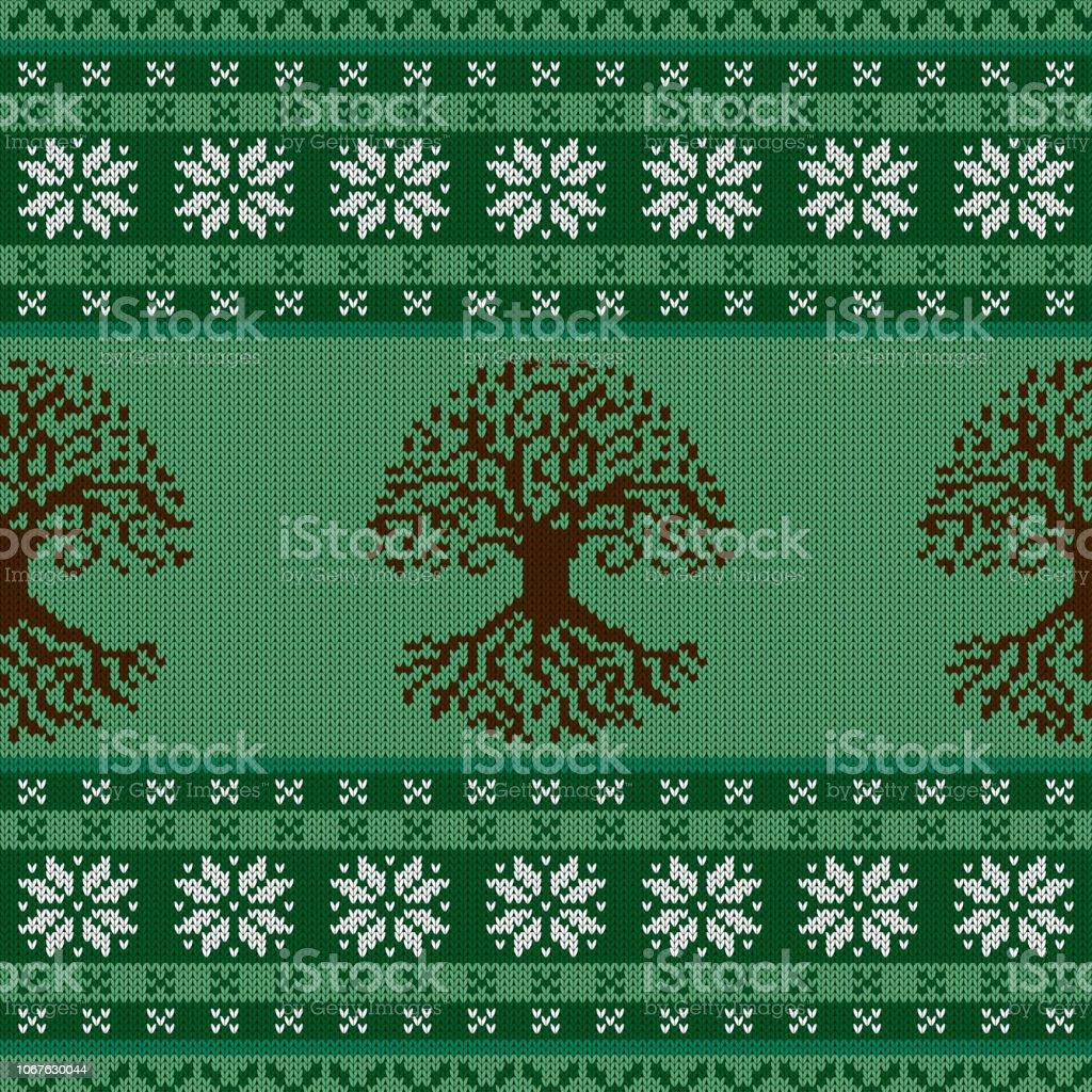 Punto lana ornamento transparente con el árbol celta de la vida y los copos de nieve - ilustración de arte vectorial