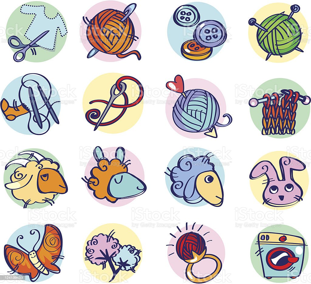 Knitters icon colors royalty-free stock vector art