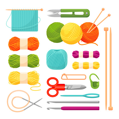 Knitting accessories, yarn vector realistic illustrations set