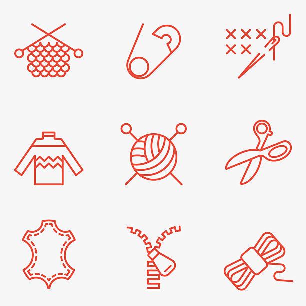 stockillustraties, clipart, cartoons en iconen met knitting and needlework icons - wollig