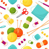 Knitting and needlework seamless pattern or background