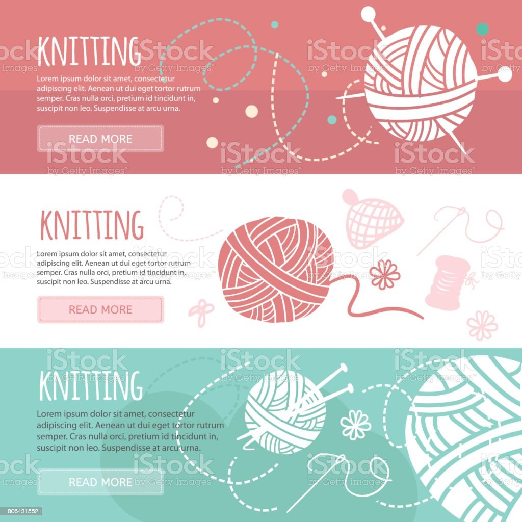 Knitting and sewing horizontal banners set vector art illustration