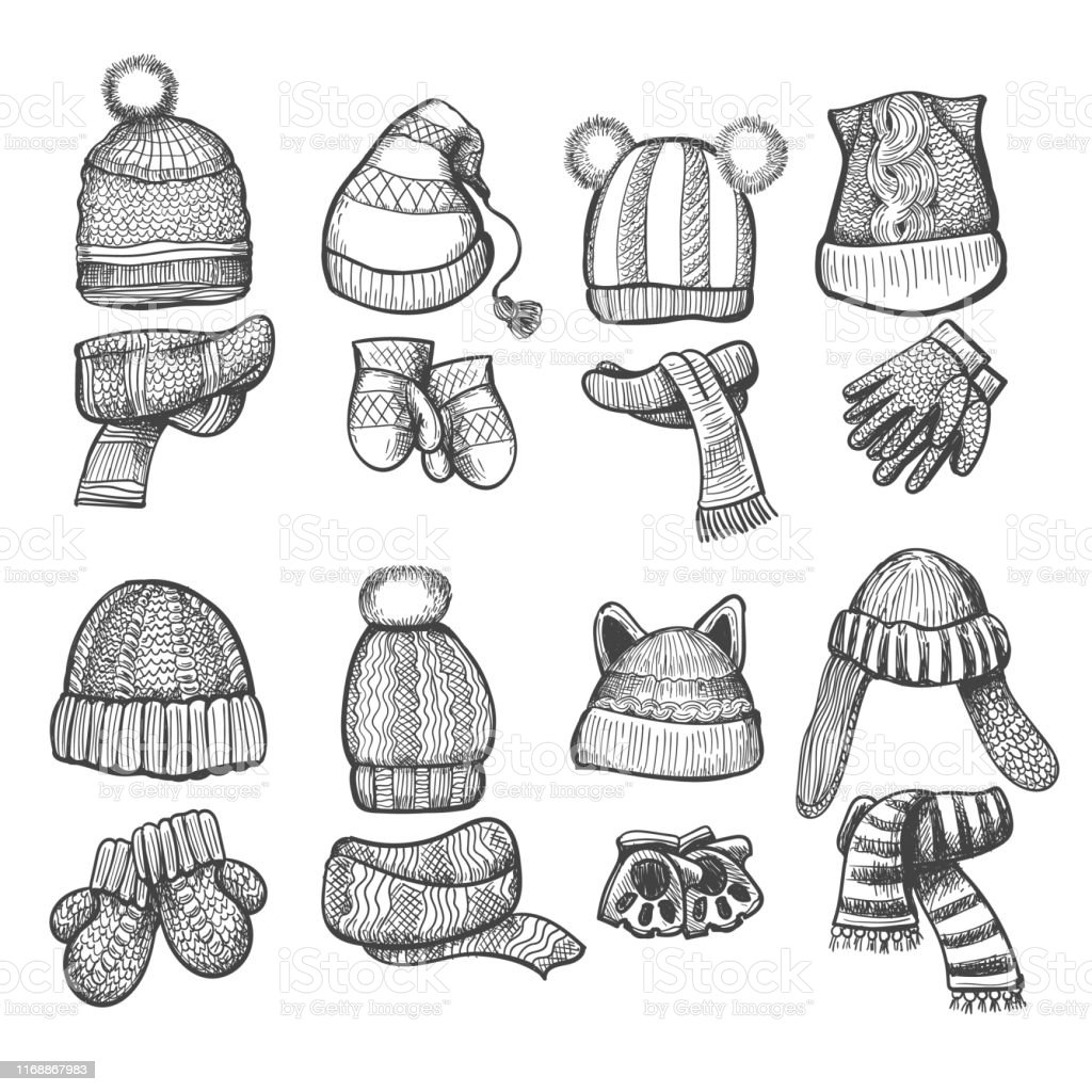 Knitting Cap And Scarf Stock Illustration Download Image Now Istock